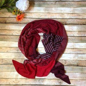 J Jill red maroon zig zag wool blend scarf